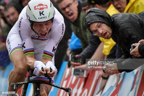 Germany's Tony Martin competes during a 14 km individual timetrial the first stage of the 104th edition of the Tour de France cycling race on July 1...