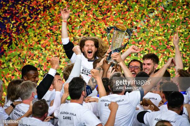 Germanys Under-21 football celebrates after winning the 2021 UEFA European Under-21 Championship final football mat thech between Germany and...