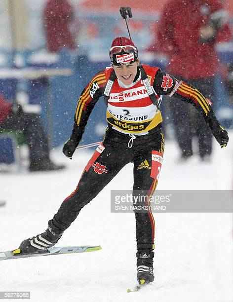 Germany's Uschi Disl skis to victory in the season opening World Cup Biathlon women's 75 km Sprint in Oestersund Sweden 26 November 2005 In second...