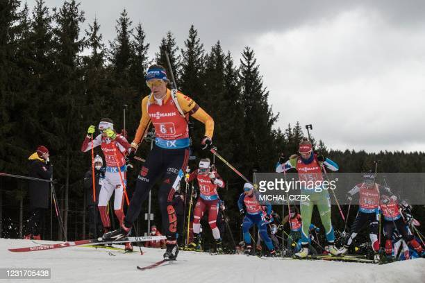 Germany's Vanessa Hinz leads a pack during the 4x6 Mixed Relay event at the IBU Biathlon World Cup in Nove Mesto, Czech Republic, on March 14, 2021.