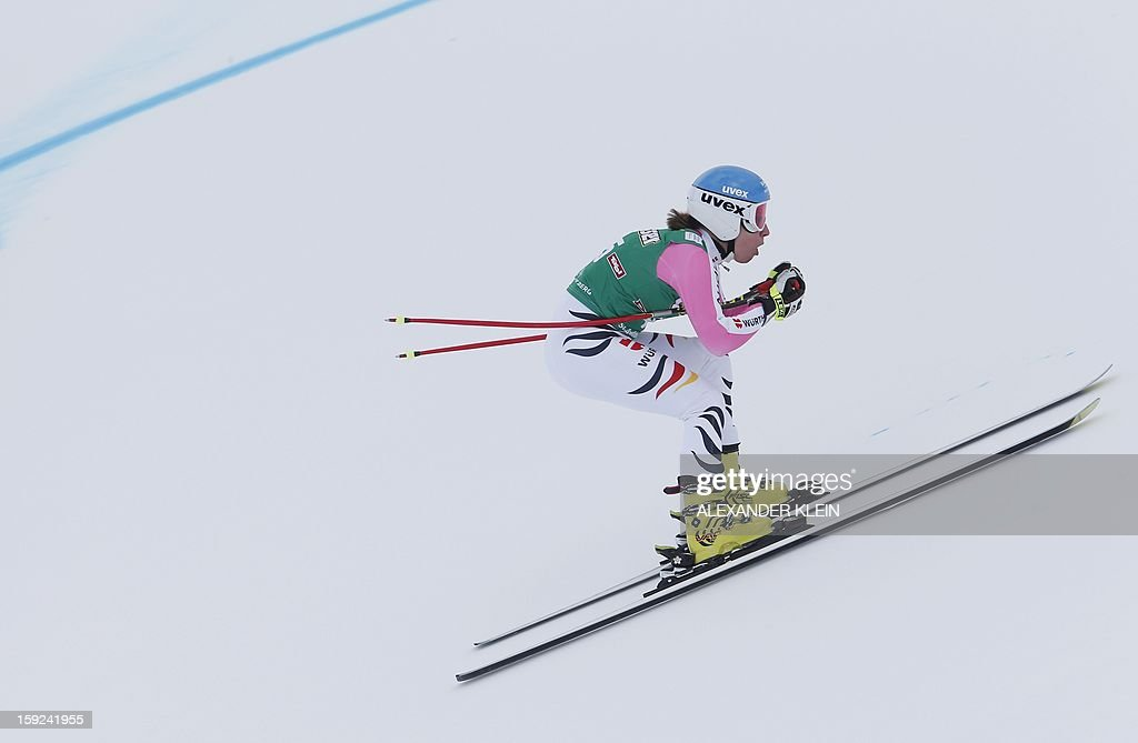 Germany's Veronique Hronek skis during the St Anton ladies downhill training session as part of the FIS Ski World Cup held in Sankt Anton am Arlberg on January 10, 2013.