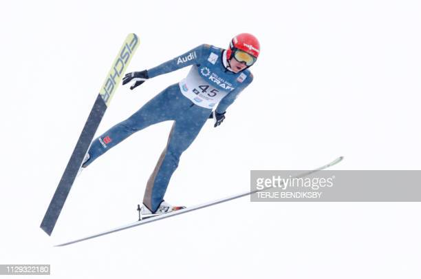 Germany's Vinzenz Geiger competes during the FIS Ski Jumping World Cup Men´s Nordic Combined in Holmenkollen, on March 9, 2019. / Norway OUT