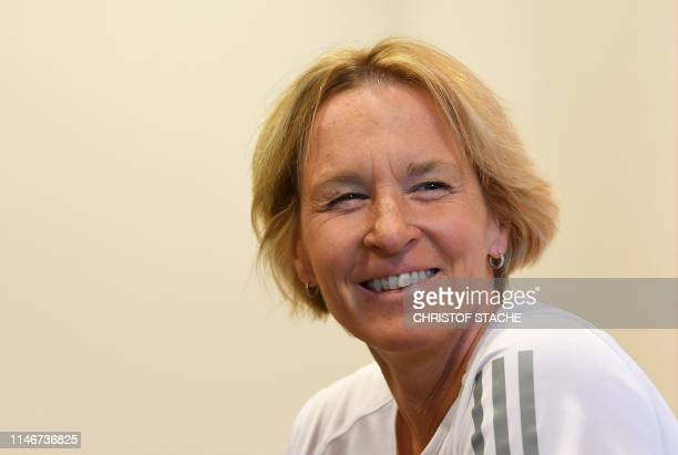 Germany's women's football team head coach Martina VossTecklenburg attends a press conference during their trainings camp in Grassau southern Germany...