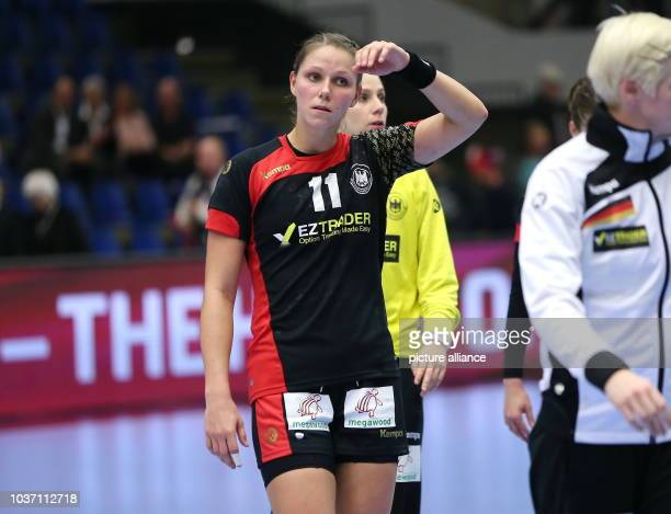 Germany's Xenia Smits reacts during the World Women's HandballChampionship match round of 16 match between Germany and Norway in Frederikshavn...