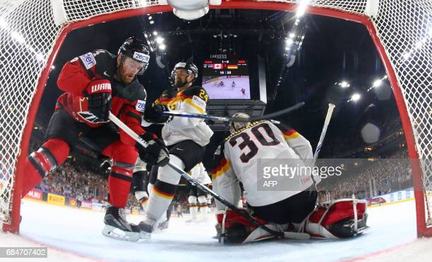 Germany's Yannic Seidenberg scores a goal against Canada's Calvin Pickard during the IIHF Men's World Championship Ice Hockey quarterfinal match...