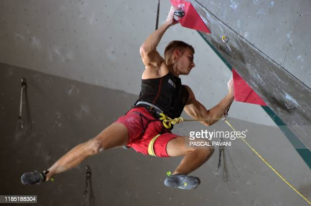 Germany's Yannick Flohe competes in the Boulder qualification event during the Olympic Climbing Tournament ahead of the Tokyo 2020 Summer Olympics in...