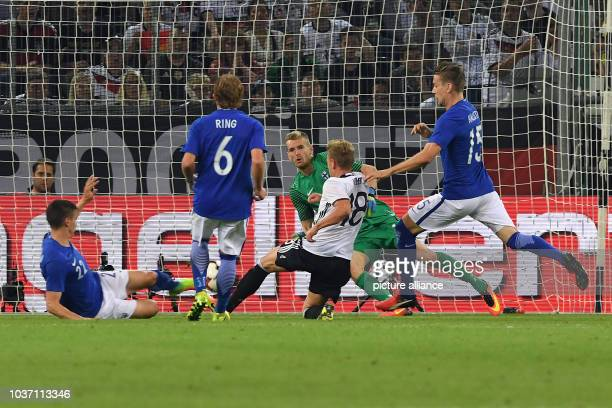 Germany'sMax Meyer shooting the 1:0 goal during the international soccer match between Germany and Finland at the stadium at Borussia-Park in...