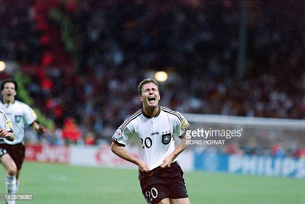 Germany'striker Oliver Bierhoff celebrates after scoring the golden second goal for his team in the Euro96 final against the Czech Republic at...