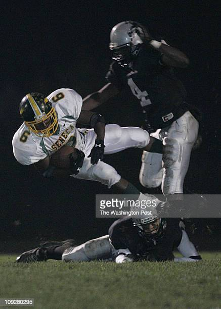 Germmantown MD Seneca Valley at Northwest varsity football on Friday October 29 2004 Seneca Valley's Quintin Cosby gets stopped with a four yard gain...