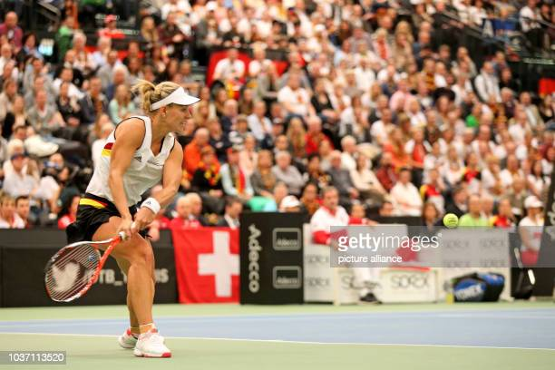 Germn tennis pro Angelique Kerber in action in the match against Belinda Bencic of Switzerland at the Fed Cup tennis quarterfinal between Germany and...