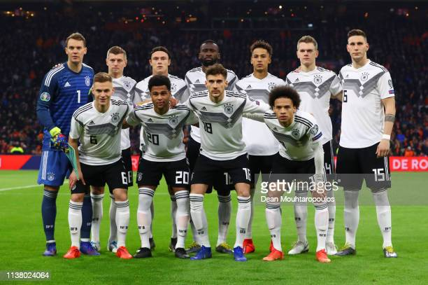 Germnay players line up prior to the 2020 UEFA European Championships Group C qualifying match between Netherlands and Germany at Johan Cruyff Arena...