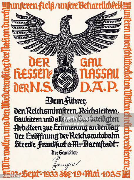 Germnay Third Reich documents document in commemoration of the opening of the Reichsautobahn route bewteen Frankfurt/Main and Darmstadt on May 19th...