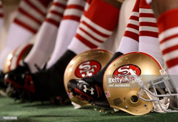 A gerneral view of a San Francisco 49ers helmet during an NFL game between Arizona Cardinals and San Francisco 49ers on September 10 2007 at Monster...