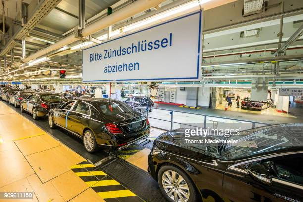Gerneral view of finished Sclass sedans at the MercedesBenz plant on January 24 2018 in Sindelfingen Germany Daimler AG which owns the MercedesBenz...