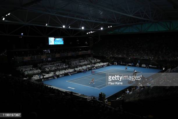 A gerneral view of play is seen during the singles match between Angelique Kerber of Germany and Qiang Wang of China on day two of the 2020 Adelaide...