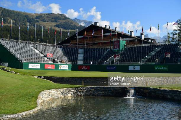 A gerneral view of the 18th hole during the pro am prior to the start of the Omega European Masters at CranssurSierre Golf Club on September 5 2018...