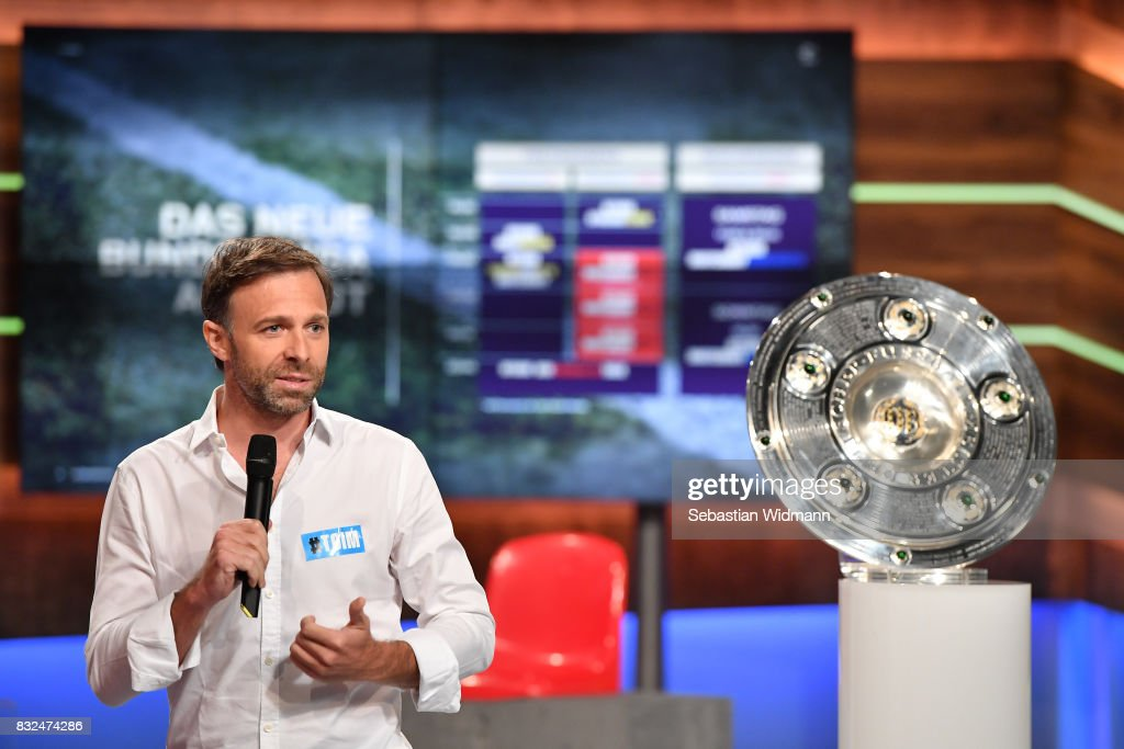 Gernot Bauer, head of sports for local sports production at Discovery Deutschland gestures during the Eurosport Bundesliga Media Day on August 16, 2017 in Unterfohring, Germany.