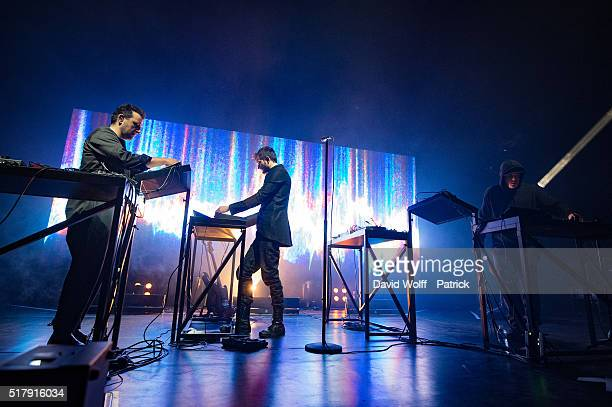 Gernot Bronsert Sebastian Szary and Sascha Ring from Moderat perform at L'Olympia on March 28 2016 in Paris France