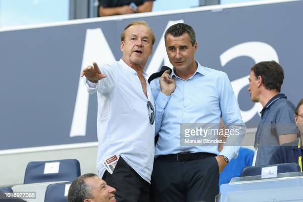 Gernot Rohr and President Marc Keller of Strasbourg during the French Ligue 1 match between Bordeaux and Strasbourg at Stade Matmut Atlantique on...