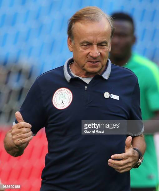 Gernot Rohr coach of Nigeria looks on during Team Nigeria field scouting at Zenit Arena onJune 25 2018 in Saint Petersburg Russia