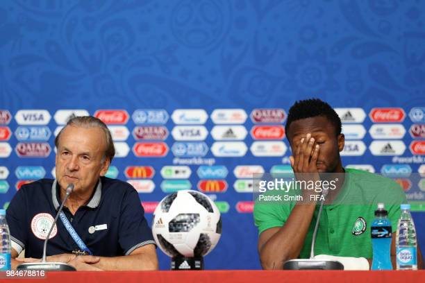 Gernot Rohr Manager of Nigeria and John Obi Mikel attend the post match press conference following the 2018 FIFA World Cup Russia group D match...