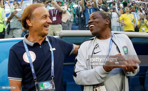 Gernot Rohr Manager of Nigeria and Yusuf Salisu laugh prior to the 2018 FIFA World Cup Russia group D match between Nigeria and Argentina at Saint...