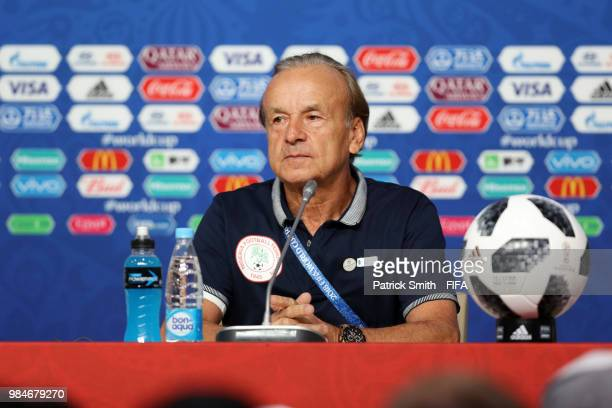 Gernot Rohr Manager of Nigeria attends the post match press conference following the 2018 FIFA World Cup Russia group D match between Nigeria and...