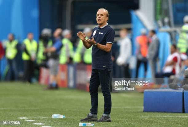 Gernot Rohr Manager of Nigeria gestures during the 2018 FIFA World Cup Russia group D match between Nigeria and Argentina at Saint Petersburg Stadium...