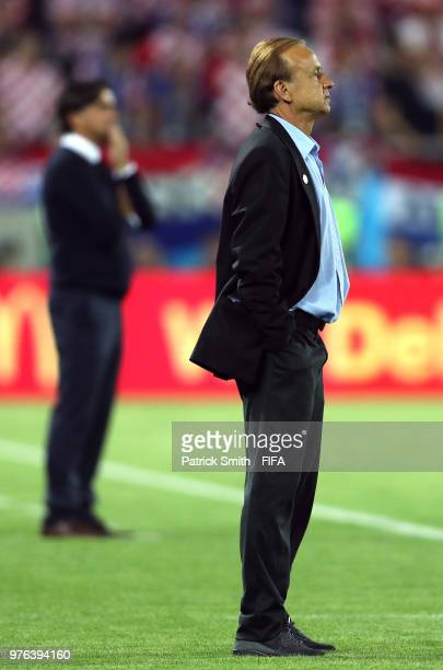 Gernot Rohr Manager of Nigeria looks on during the 2018 FIFA World Cup Russia group D match between Croatia and Nigeria at Kaliningrad Stadium on...