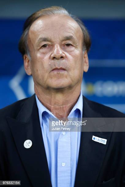 Gernot Rohr Manager of Nigeria looks on prior to the 2018 FIFA World Cup Russia group D match between Croatia and Nigeria at Kaliningrad Stadium on...