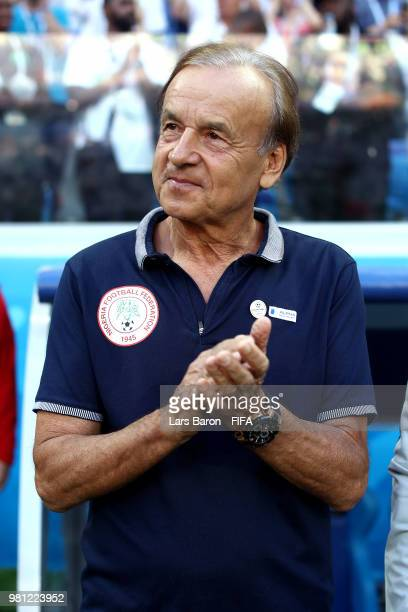 Gernot Rohr Manager of Nigeria looks on prior to the 2018 FIFA World Cup Russia group D match between Nigeria and Iceland at Volgograd Arena on June...