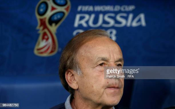 Gernot Rohr Manager of Nigeria looks on prior to the 2018 FIFA World Cup Russia group D match between Nigeria and Argentina at Saint Petersburg...