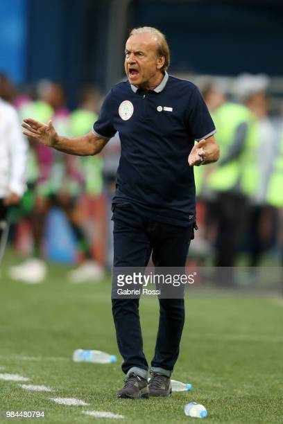 Gernot Rohr Manager of Nigeria reacts during the 2018 FIFA World Cup Russia group D match between Nigeria and Argentina at Saint Petersburg Stadium...