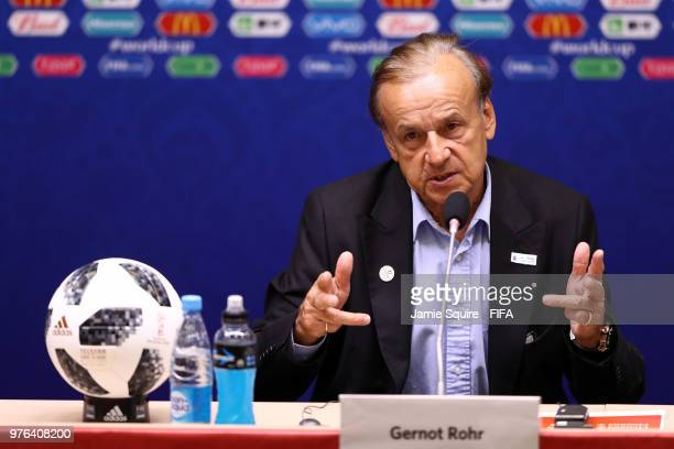 Gernot Rohr Manager of Nigeria speaks during the press conference after the 2018 FIFA World Cup Russia group D match between Croatia and Nigeria at...
