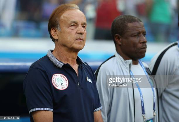 Gernot Rohr of Nigeria before the 2018 FIFA World Cup Russia group D match between Nigeria and Iceland at Volgograd Arena on June 22 2018 in...