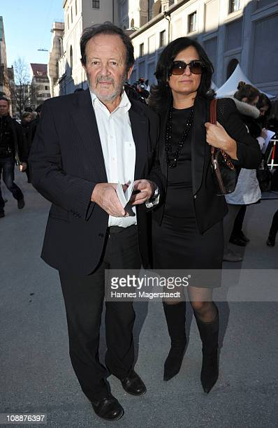 Gernot Roll and his wife Rita SerraRoll attend the memorial service for Bernd Eichinger at the St Michael Kirche on February 07 2011 in Munich...