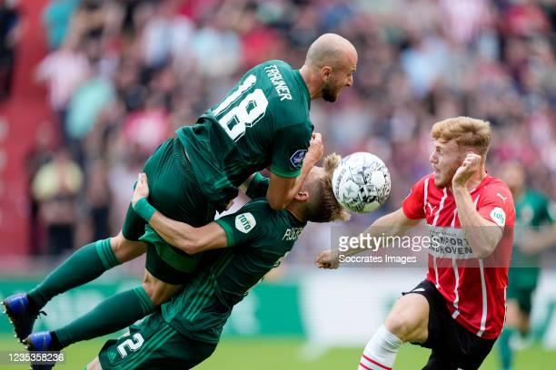 Gernot Trauner of Feyenoord, Marcus Pedersen of Feyenoord, Yorbe Vertessen of PSV during the Dutch Eredivisie match between PSV v Feyenoord at the...