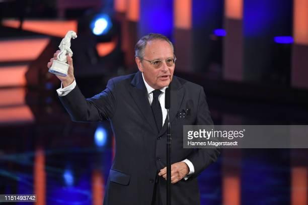 Gero von Boehm director and producer receives the Blue Panther trophy at the Bayerische Fernsehpreis award ceremony 2019 at Prinzregententheater on...