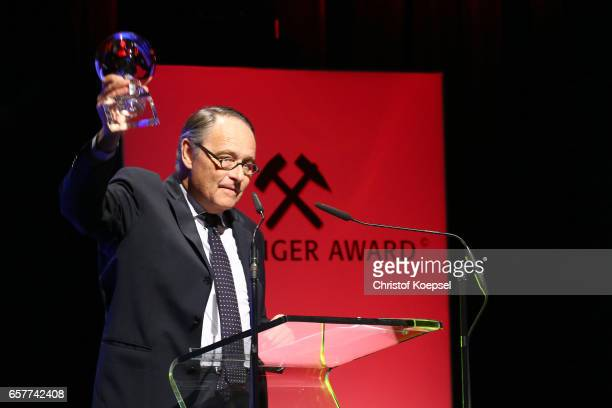 Gero von Boehm speaks after winning the media award during the Steiger Award on at Coal Mine Hansemann Alte Kaue March 25 2017 in Dortmund Germany