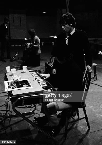 Geroge Harrison Paul McCartney and John Lennon are pictured with Neil Aspinall at the Donmar Rehearsal Theatre in central London during rehearsals...