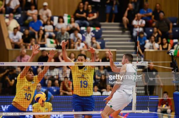 Gerogi Bratoev R Bulgaria against Otavio Henrique Rodriguez Pinto L and Mauricio Borges cetre Brazil during Mens Volleyball Nations League VNL match...