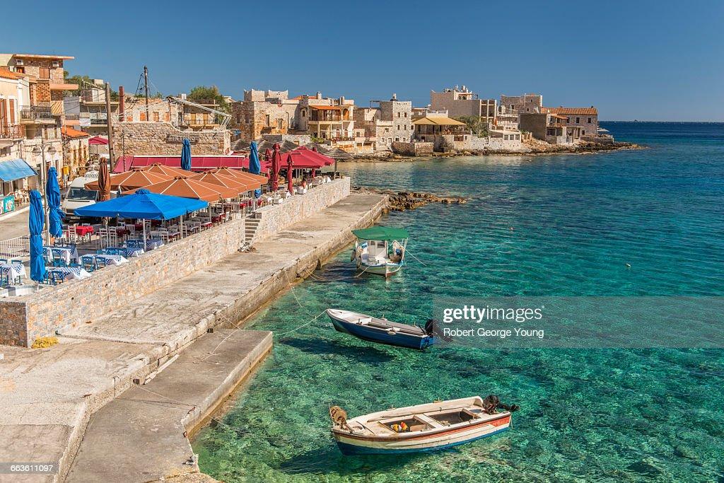 Gerolimenas Harbour, Fishing Boats, Restaurants : Stock Photo