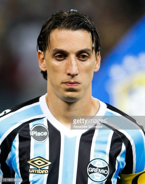 Geromel of Gremio poses for photo before the match against Corinthians for the Brasileirao Series A 2018 at Arena Corinthians Stadium on August 18...