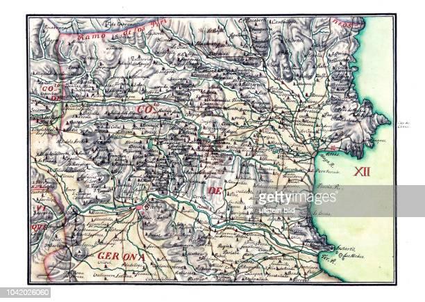 Gerona 1716 Mapa general del principado de Catalu–a y Rossell—n con las fronteras de Francia Aragon y Valencia nuevamente aumentada y corregida por...