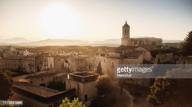 gerona at sunset as seen from above - gerona city stock pictures, royalty-free photos & images