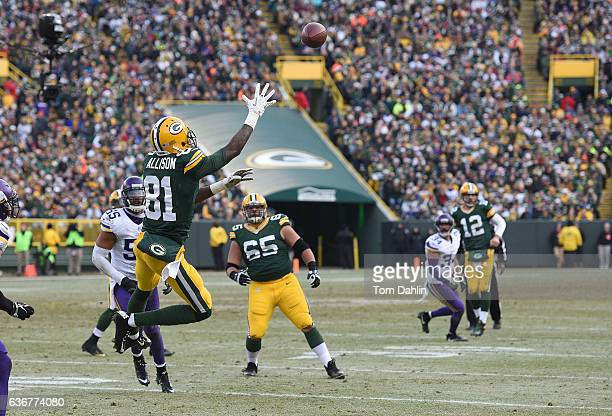 Geronimo Allison of the Green Bay Packers attempts a catch during a game against the Minnesota Vikings at Lambeau Field on December 24 2016 in Green...
