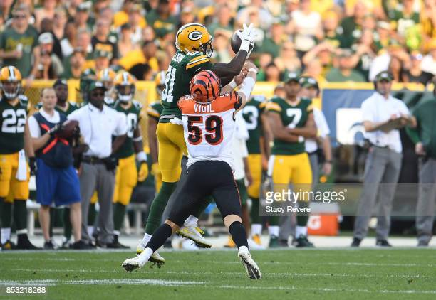 Geronimo Allison of the Green Bay Packers catches a pass during the third quarter against the Cincinnati Bengals at Lambeau Field on September 24...