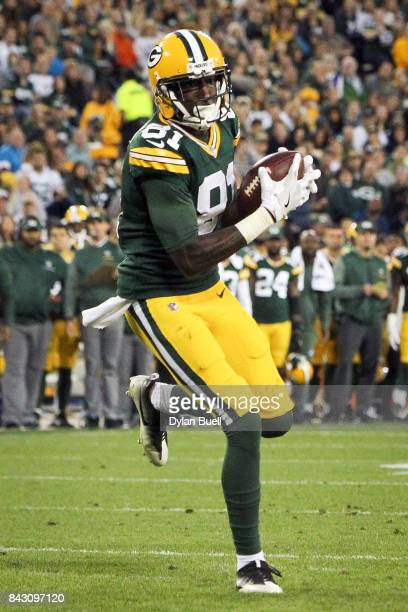 Geronimo Allison of the Green Bay Packers catches a pass in the second quarter against the Los Angeles Rams during a preseason game at Lambeau Field...