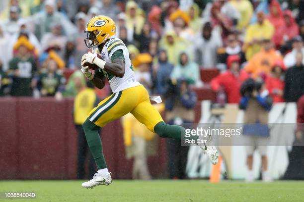 Geronimo Allison of the Green Bay Packers catches a second quarter touchdown pass against the Washington Redskins at FedExField on September 23 2018...