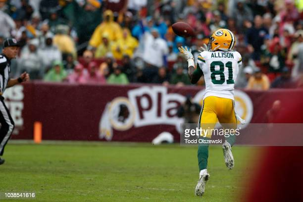Geronimo Allison of the Green Bay Packers catches a touchdown pass in the second quarter against the Washington Redskins at FedExField on September...